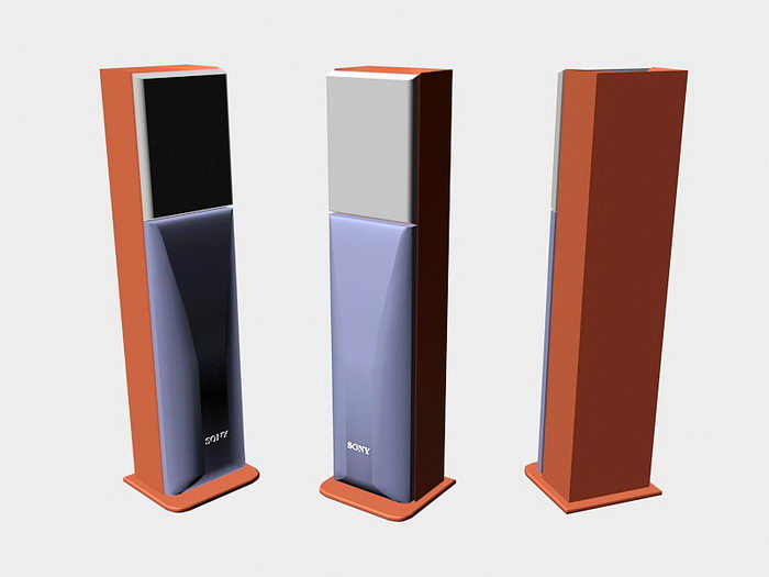 Old Sony Speaker 3d rendering
