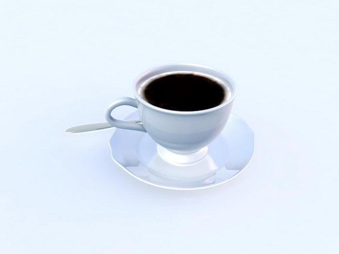 Coffee and Spoon 3d rendering