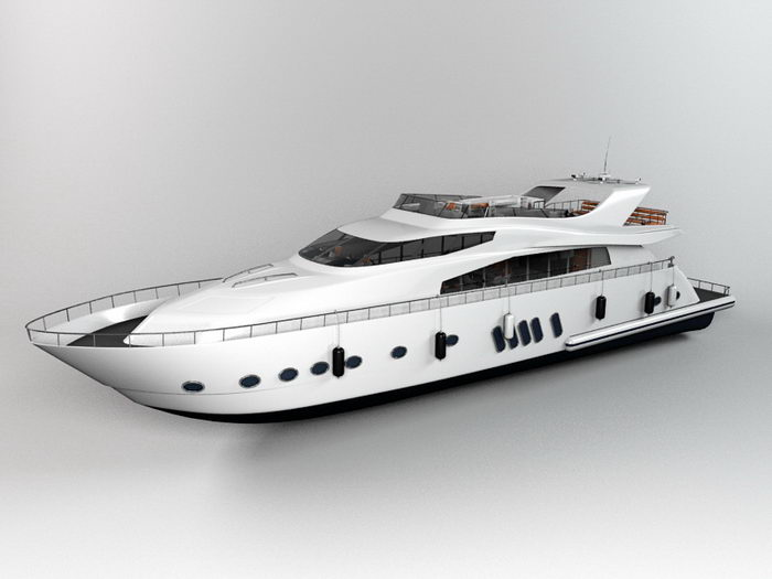 Superyacht 3d rendering