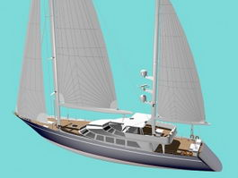 Modern Classic Sailing Yacht 3d preview