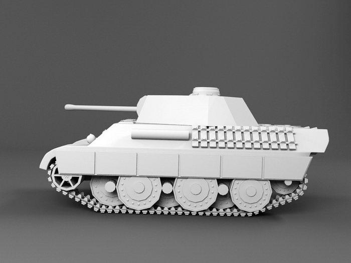 Leopard 1 Tank 3d rendering