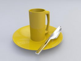 Dinner Plate Knife and Coffee Cup 3d preview