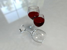 Red Wine Glasses 3d model preview