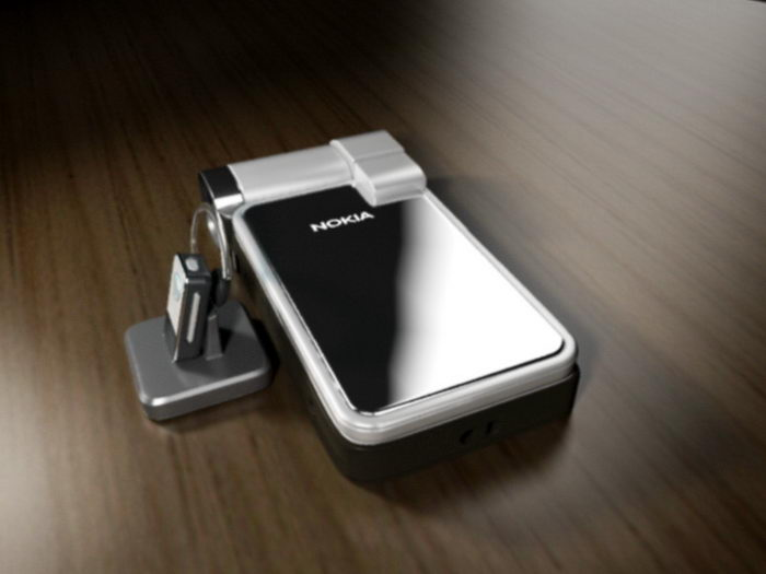 Nokia N93 and Bluetooth Headset 3d rendering