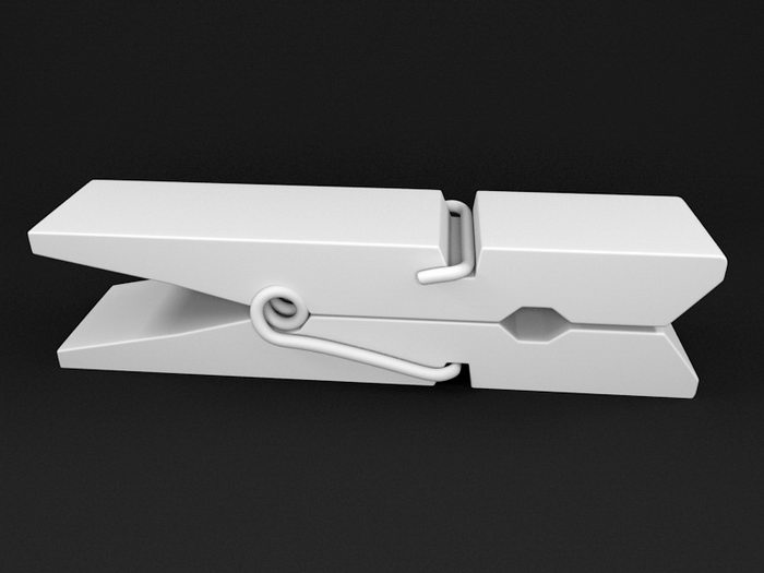 Wooden Clothespin 3d rendering