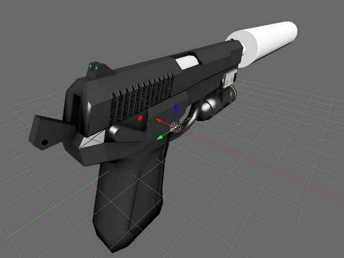 QSZ-92 Pistol with Silencer 3d rendering