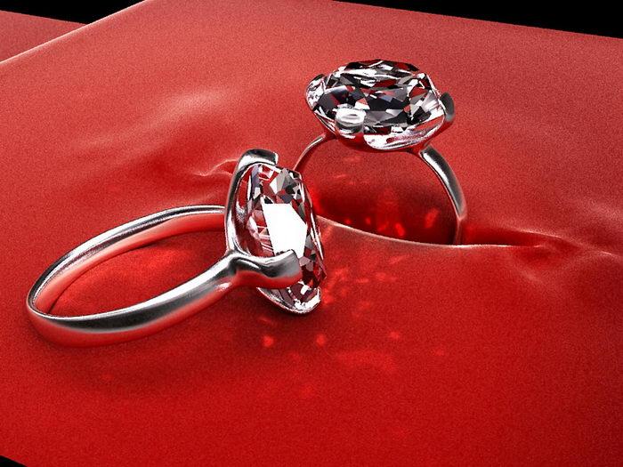 Diamond Rings 3d rendering