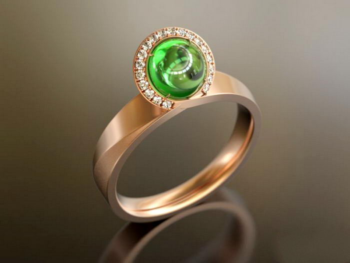 Gold Emerald Ring 3d rendering