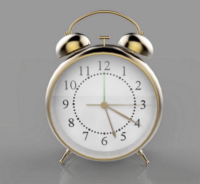 Antique Alarm Clock 3d rendering