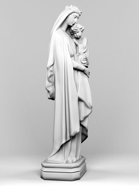 Statue of Virgin Mary 3d rendering