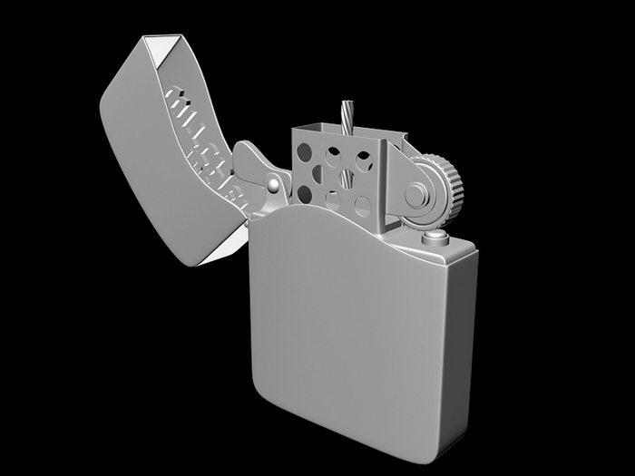 Unique Zippo Lighter 3d rendering