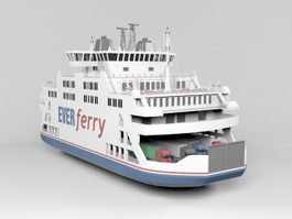 Passenger and Car Ferry 3d model preview