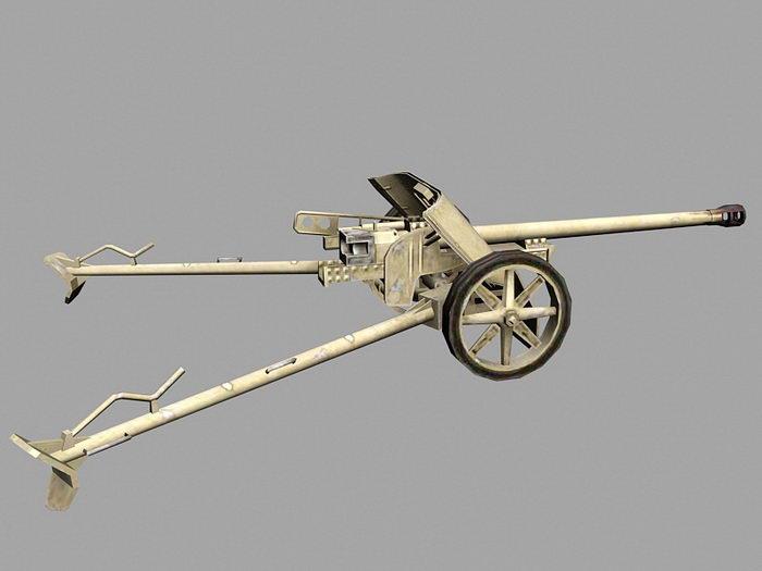 Pak 38 German Anti-tank Gun 3d rendering