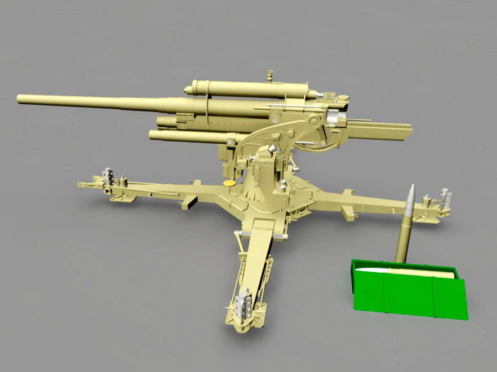 Pak 43 German 88 mm Anti-tank Gun 3d rendering