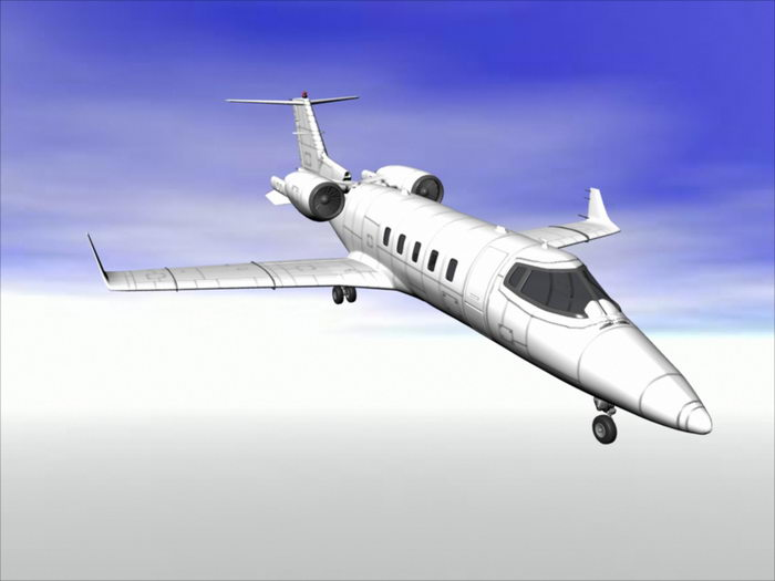 Learjet 45 Business Jet Aircraft 3d rendering