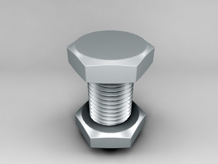 Nut and Bolt 3d rendering