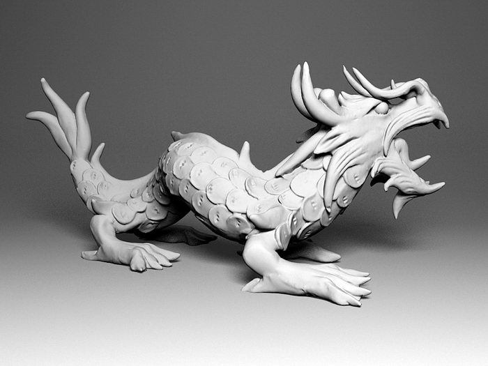 China Dragon Statue 3d rendering