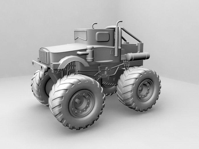 Off-Road Tractor 3d rendering