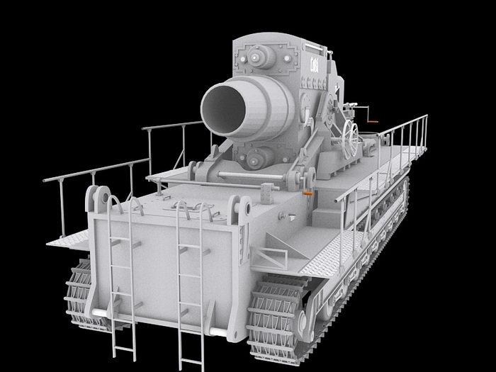 German Karl-Gerat 041 Siege Mortar 3d rendering
