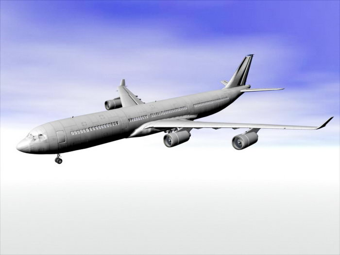 Airbus A340 Jet Airliner 3d rendering