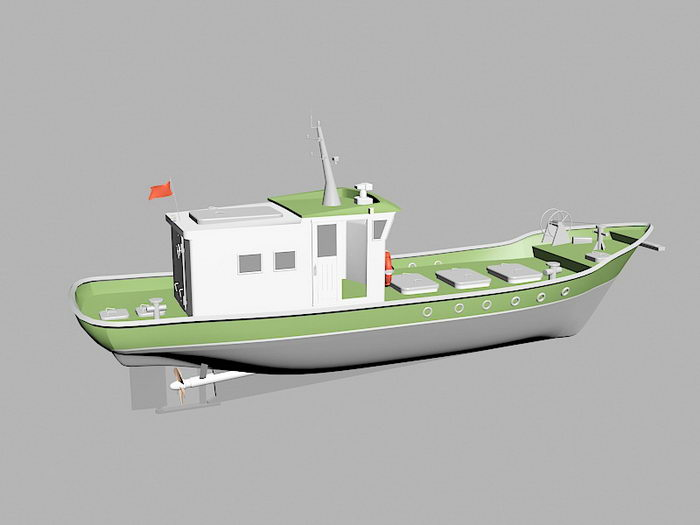 Fishing Trawler 3d rendering
