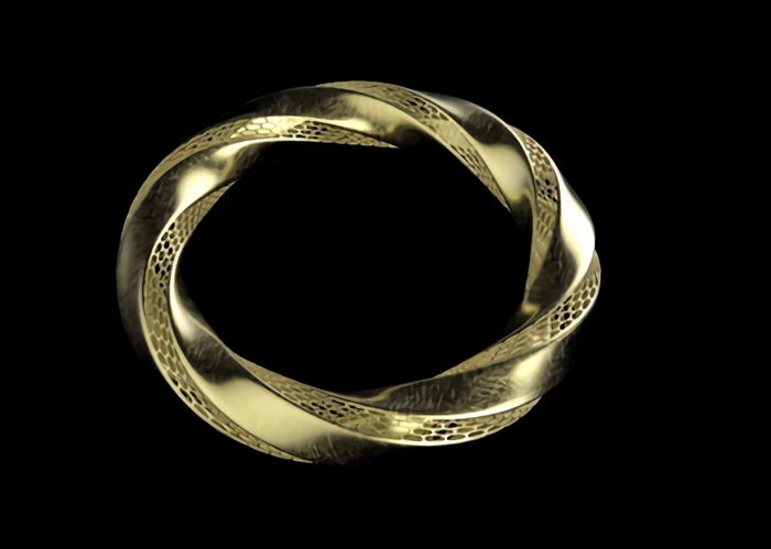 Gold Bracelet 3d rendering