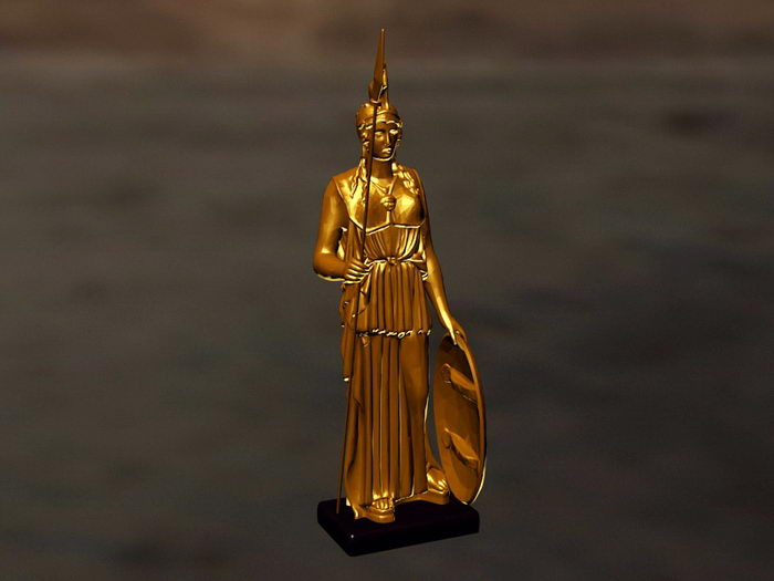 Athena Goddess Statue 3d rendering