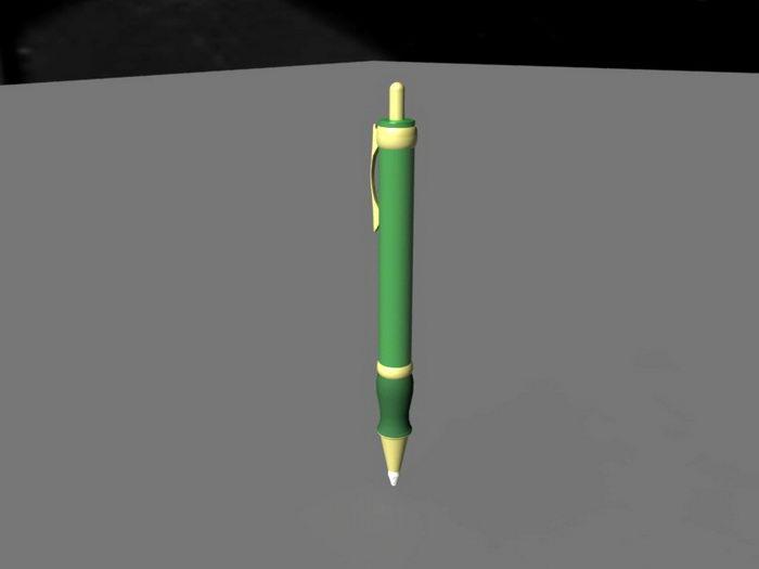 Green Ballpoint Pen 3d rendering