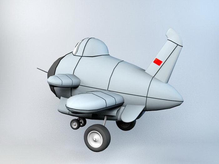 Cartoon Fighter Plane 3d rendering