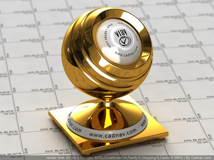 Polished Gold material rendering