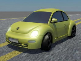 Lime Green Volkswagen Beetle 3d preview
