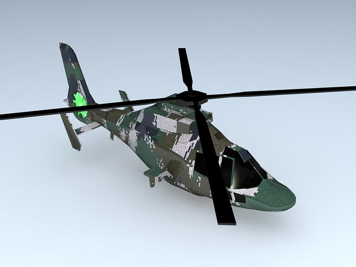 WZ-9 Attack Helicopter 3d rendering