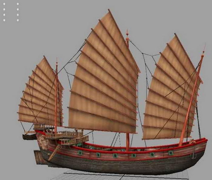 Chinese Junk Ship 3d rendering