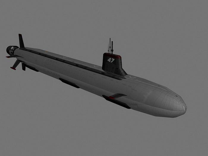 SSN-21 Seawolf Submarine 3d rendering