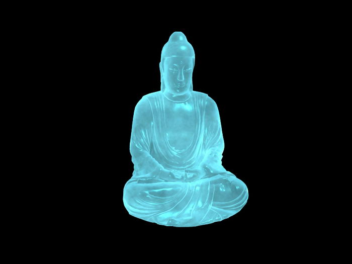 Blue Jade Buddha Statue 3d rendering