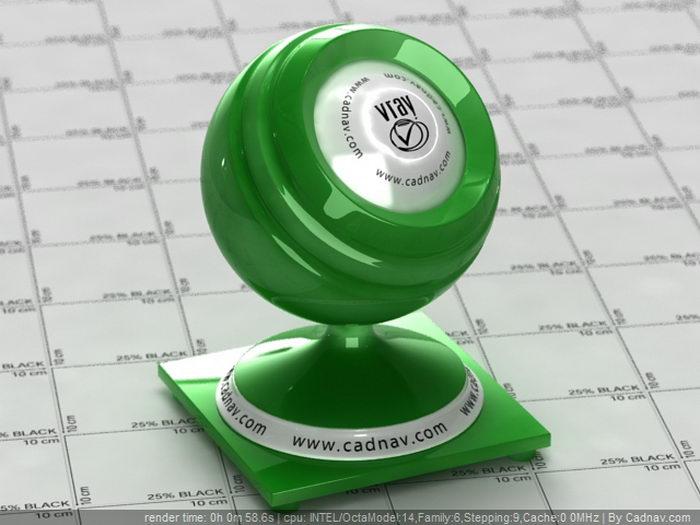 SSS Green Plastic material rendering