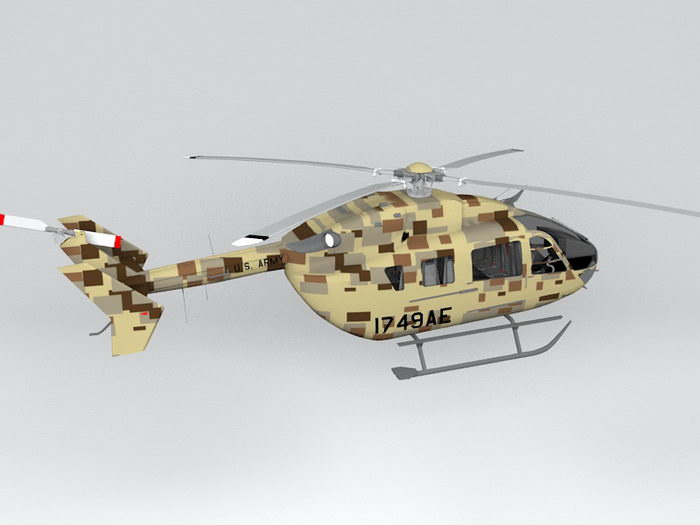 Eurocopter UH-72 Military Helicopter 3d rendering