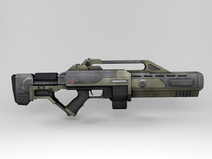 Sci-Fi Automatic Rifle 3d rendering