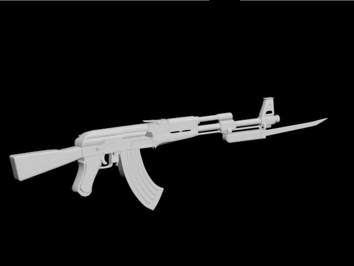 AK 47 with Bayonet 3d rendering