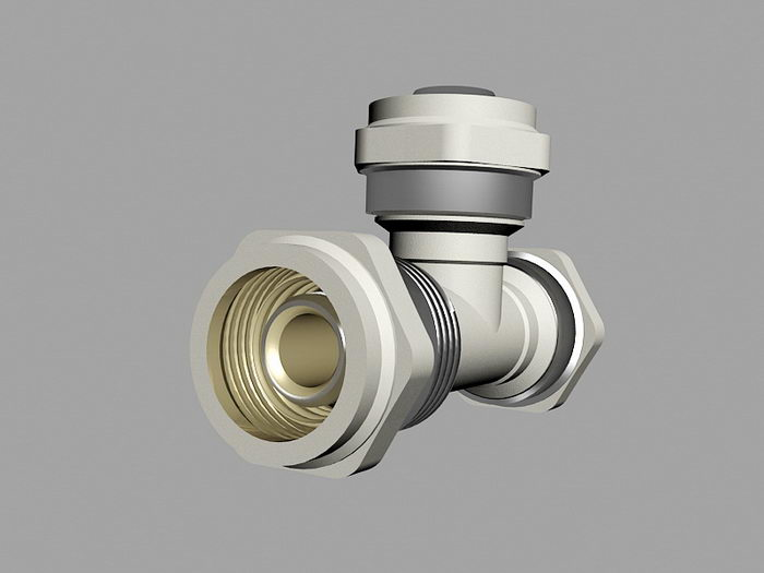 3-Way Pipe Connector 3d rendering