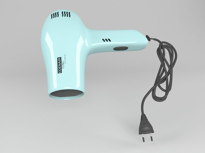 Blue Hair Dryer 3d rendering