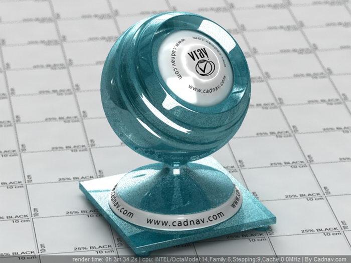 Blue Metal Flake Paint material rendering