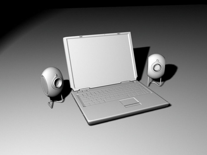 Laptop and Speakers 3d rendering