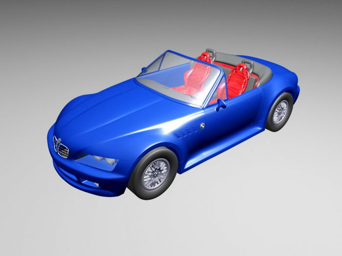 Blue BMW Convertible 3d rendering