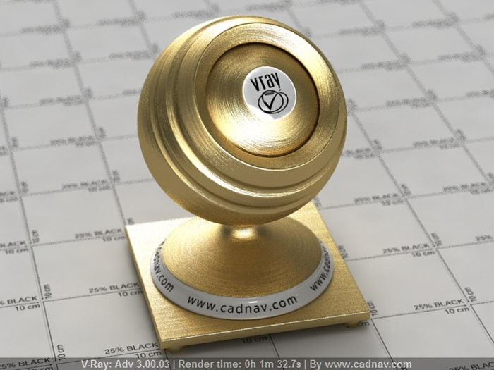 Brushed Gold material rendering