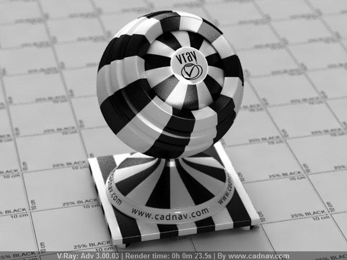 Black & White Stripe Plastic material rendering