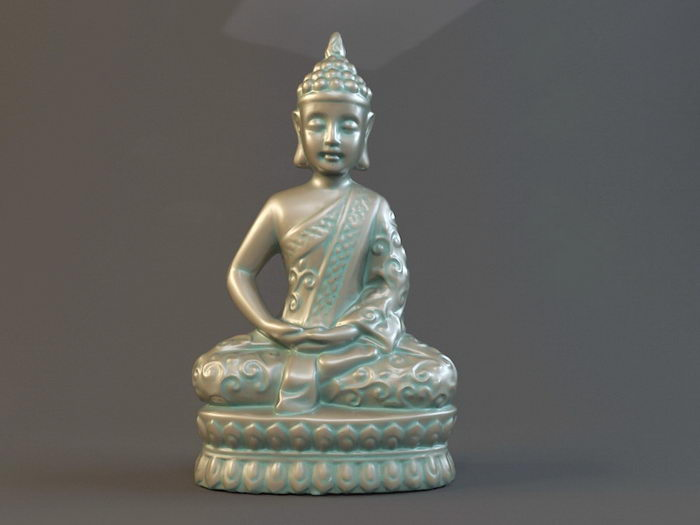 Bronze Thai Buddha Statue 3d rendering
