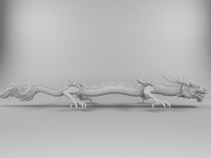 Chineese Dragon Sculpture 3d rendering