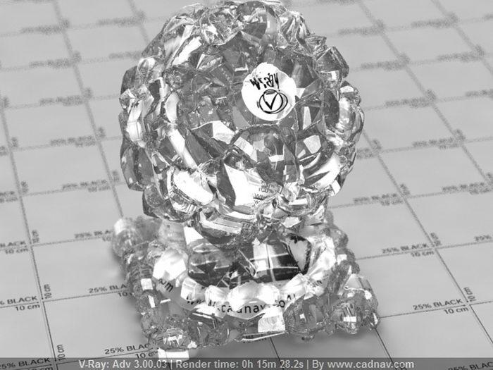 Quartz Crystal Cluster material rendering