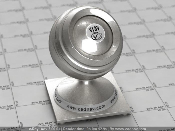 Polychromatic Silver Metallic material rendering